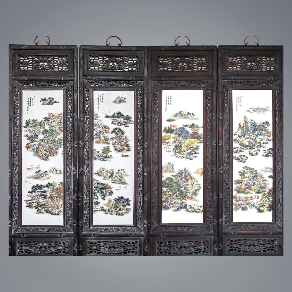 汪野亭山水人物瓷板画四条屏